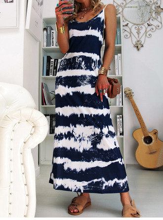 Tie Dye Shift Sleeveless Maxi Casual Vacation Type Dresses