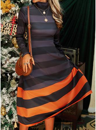 Color Block A-linjeklänning Långa ärmar Midi Fritids skater Modeklänningar