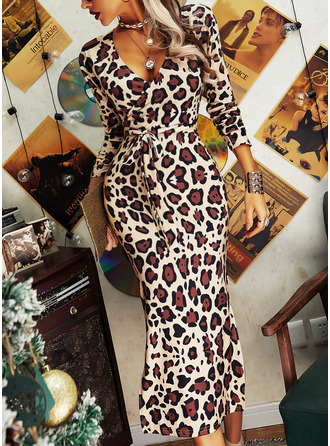 Leopard Bodycon Long Sleeves Midi Elegant Pencil Dresses (294254980)