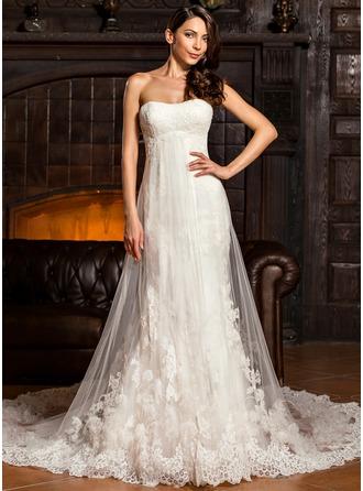Vestido tubo Novio Cola capilla Tul Encaje Vestido de novia con Volantes