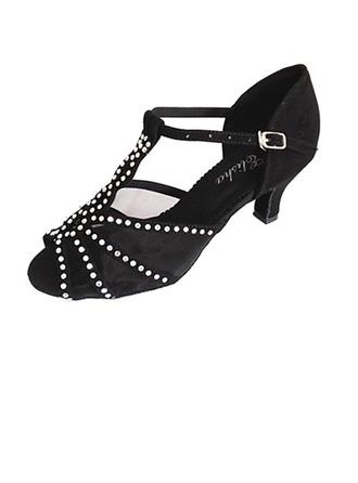 De mujer Encaje Tacones Sandalias Salón Danza latina con Tira de tobillo Agujereado Lentejuelas Zapatos de danza