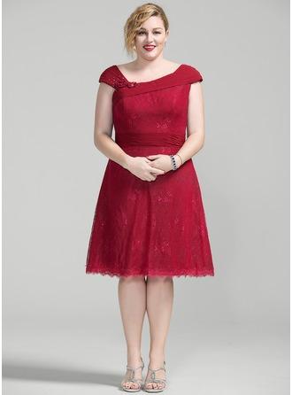 Vestidos princesa/ Formato A Coquetel Tecido de seda Renda Vestido para a mãe da noiva com Pregueado Beading fecho de correr lantejoulas
