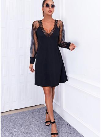 Solide Shiftjurken Lange Mouwen Mini Zwart jurkje Elegant ()