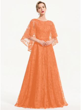 A-Line Scoop Neck Floor-Length Lace Evening Dress
