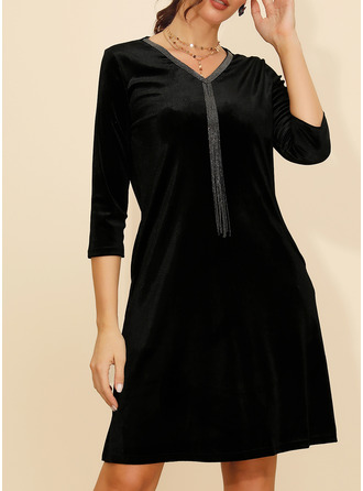 Solid Shift Long Sleeves Midi Little Black Casual Elegant Tunic Dresses