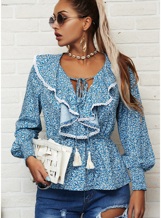 Lace Print V-Neck Long Sleeves Casual Blouses