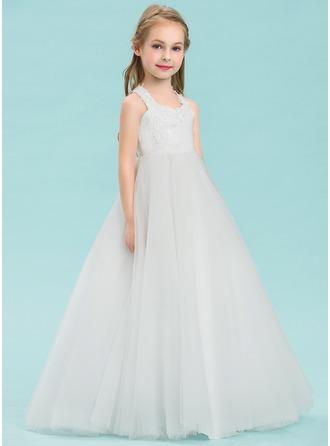 Ball Gown Floor-length Flower Girl Dress - Satin/Tulle Sleeveless V-neck With Appliques
