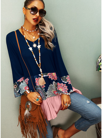 Color Block Floral Print V-Neck Long Sleeves Casual Blouses