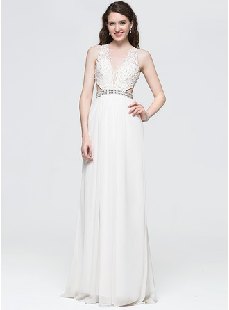 A-Line/Princess V-neck Floor-Length Chiffon Prom Dress With Beading Sequins