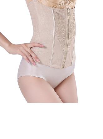 Kvinnor Feminin/Sexig Chinlon Andningsförmåga Hög Midja Midjebandspelare med Jacquard Shapewear