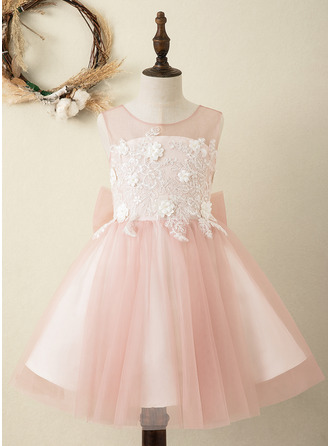 Áčkové Šaty Po kolena Flower Girl Dress - Satén/Tyl Bez rukávů Scoop Neck S Luk/V Back