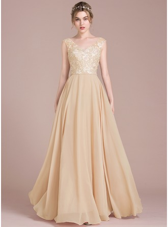 A-Line/Princess V-neck Floor-Length Chiffon Lace Prom Dresses With Beading Sequins