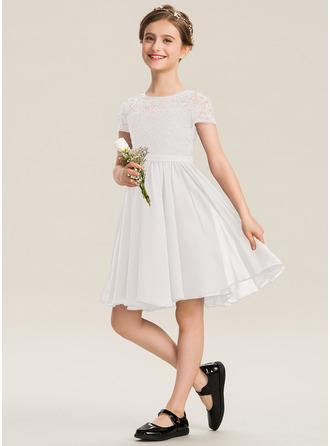 A-Linie U-Ausschnitt Knielang Chiffon Spitze Kleid für junge Brautjungfern mit Schleife(n)