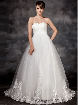 Empire Sweetheart Court Train Tulle Wedding Dress With Appliques Lace