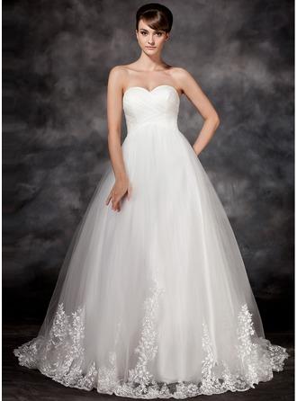 Corte imperial Escote corazón Cola corte Tul Vestido de novia con Los appliques Encaje