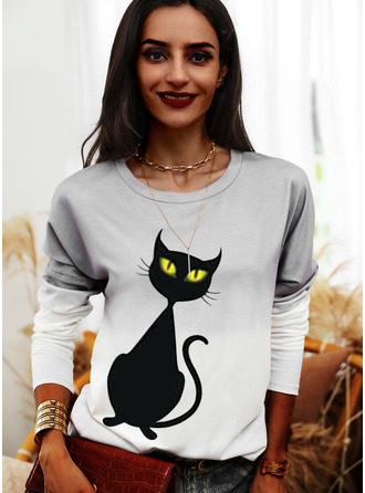 Animal Print Tie Dye Halloween Round Neck Long Sleeves Sweatshirt