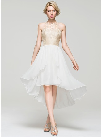 A-Line/Princess Scoop Neck Asymmetrical Chiffon Cocktail Dress With Cascading Ruffles