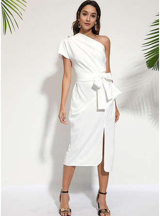 Midi One Shoulder Polyester Solid Short Sleeves Fashion Dresses