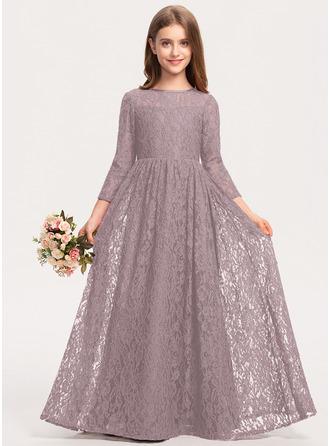 A-Line Scoop Neck Floor-Length Lace Junior Bridesmaid Dress