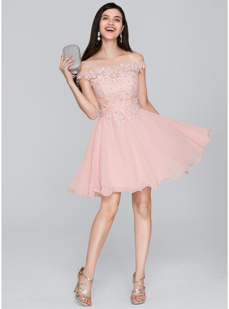 A-Line/Princess Off-the-Shoulder Short/Mini Chiffon Cocktail Dress With Beading Sequins