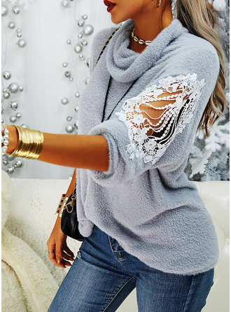 Turtleneck Casual Lace Solid Sweaters