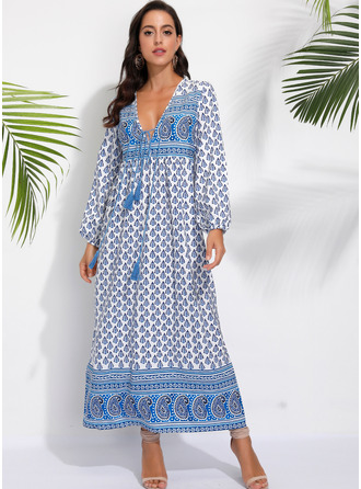 Print Shift Long Sleeves Maxi Boho Casual Vacation Dresses