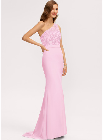 Trumpet/Mermaid One-Shoulder Sweep Train Chiffon Bridesmaid Dress