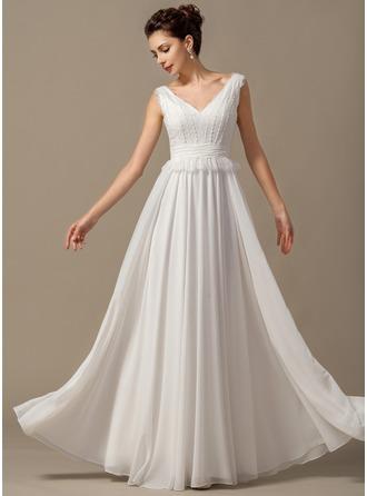 A-Line/Princess V-neck Floor-Length Chiffon Wedding Dress With Bow(s) Cascading Ruffles