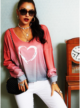 Tie Dye Print V-Neck Long Sleeves Casual T-shirt