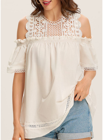 Lace Cold Shoulder 1/2 Sleeves Casual Elegant