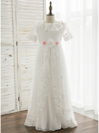 A-Line/Princess Floor-length Flower Girl Dress - Tulle/Lace Short Sleeves Peter Pan Collar With Ruffles