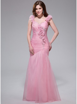 Trumpet/Mermaid V-neck Floor-Length Organza Prom Dress With Ruffle Beading Flower(s) Sequins