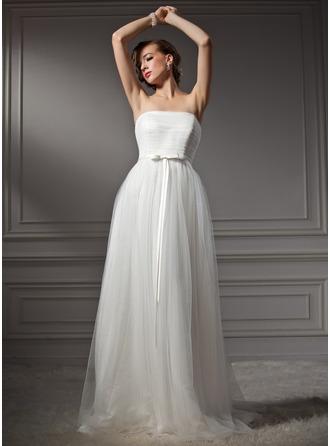 Corte A/Princesa Estrapless Barrer/Cepillo tren Tul Vestido de novia con Volantes Lazo(s)