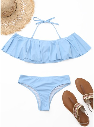 Beautiful Solid Color Bandeau Low Waist Polyester Spandex Bikinis Swimsuit