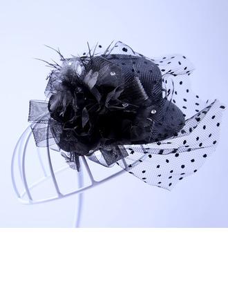 Señoras Elegante Tul Flores y plumas