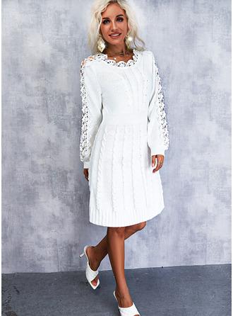 Solid 3/4 Sleeves Elegant Sweater Dress Dresses