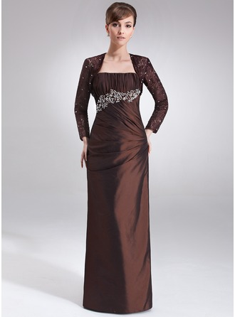 Sheath/Column Strapless Floor-Length Taffeta Mother of the Bride Dress With Ruffle Beading