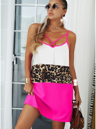Leopard Color Block Shift Sleeveless Midi Casual Type Dresses