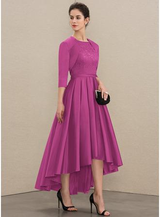 Трапеция Круглый асимметричный Атлас Кружева Платье Для Матери Невесты с блестки
