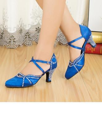 De mujer Satén Tacones Salón Sala de Baile con Rhinestone Tira de tobillo Zapatos de danza