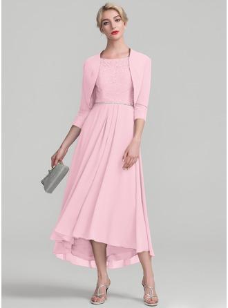 A-Linie U-Ausschnitt Asymmetrisch Chiffon Spitze Kleid für die Brautmutter mit Perlstickerei