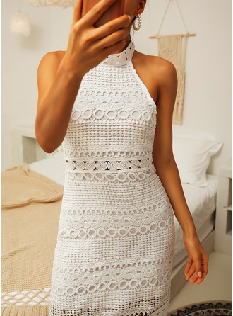 Above Knee Stand collar Lace Lace/Solid Sleeveless Fashion Dresses