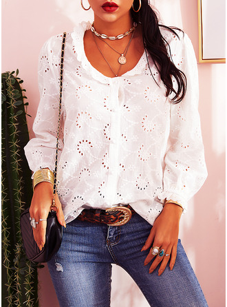 Solid V-Neck Long Sleeves Button Up Casual Elegant Blouses