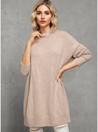 Round Neck Turtleneck Casual Solid Sweaters