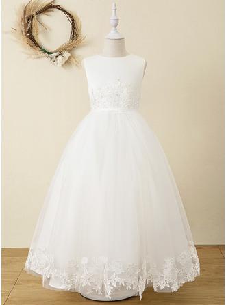 Plesové/Princesový Délka ke kotníkům Flower Girl Dress - Satén/Tyl/Krajka Bez rukávů Scoop Neck