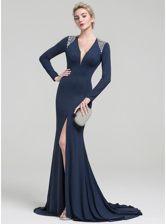 Trumpet/Mermaid V-neck Sweep Train Jersey Evening Dress With Beading Sequins Split Front