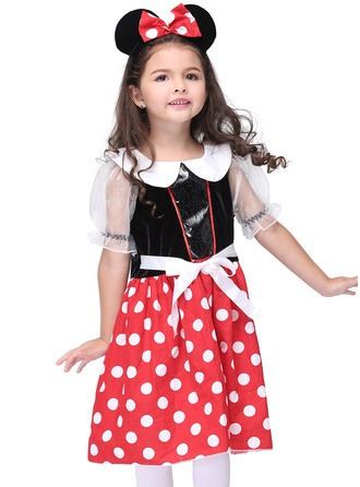 A-Line/Princess Short/Mini Flower Girl Dress - Polyester Short Sleeves Peter Pan Collar