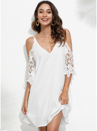 Shift V-Neck Polyester Lace Cocktail Dress