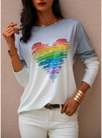 Tie Dye Print Round Neck Long Sleeves Casual T-shirt