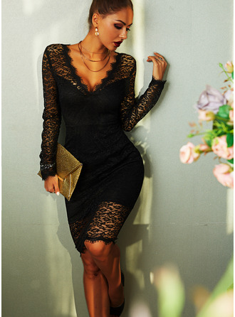 Kant Solide Bodycon Lange Mouwen Medium Zwart jurkje Party Elegant Potlood ()
